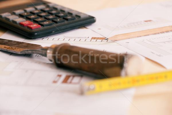 Falegname pianificazione lavoro ancora vita strumenti matita Foto d'archivio © Kzenon