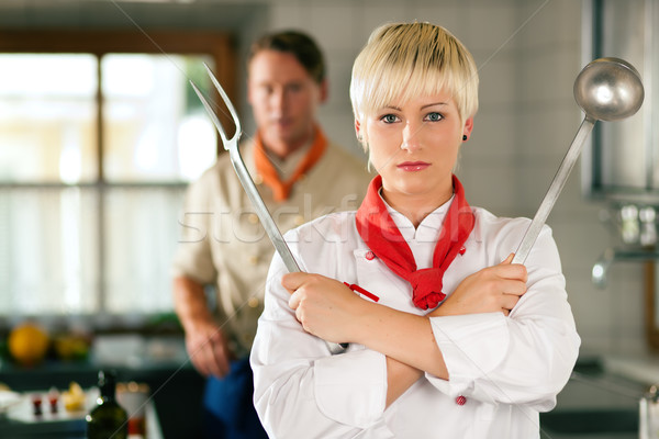 Stockfoto: Chef · vrouw · restaurant · keuken · poseren · vrouwelijke