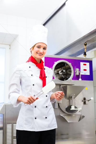 Chef preparing ice cream with machine Stock photo © Kzenon