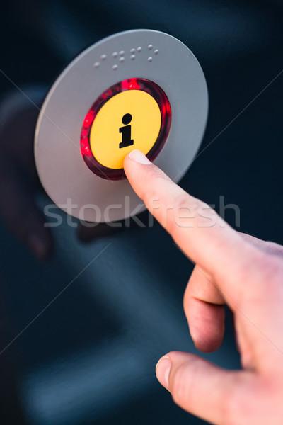 Hand pressing information button Stock photo © Kzenon