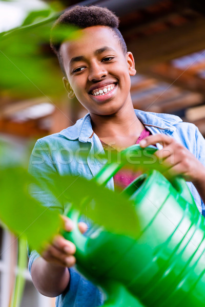 Young African boy watering plants in garden Stock photo © Kzenon