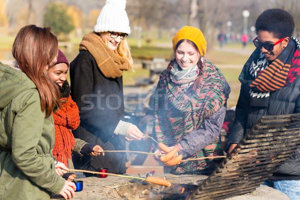 Csoport fiatalok kolbászok kint több nemzetiségű hideg Stock fotó © Kzenon