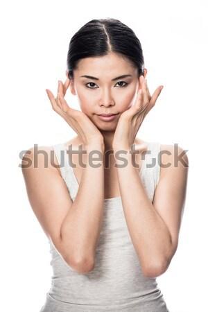 Portret asian jonge vrouw naar camera intelligent Stockfoto © Kzenon