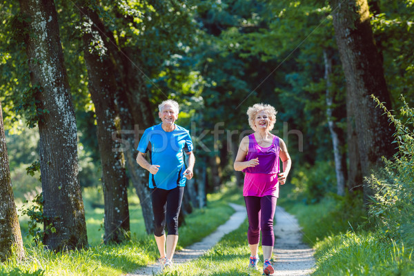Two active seniors with a healthy lifestyle smiling while jogging Stock photo © Kzenon