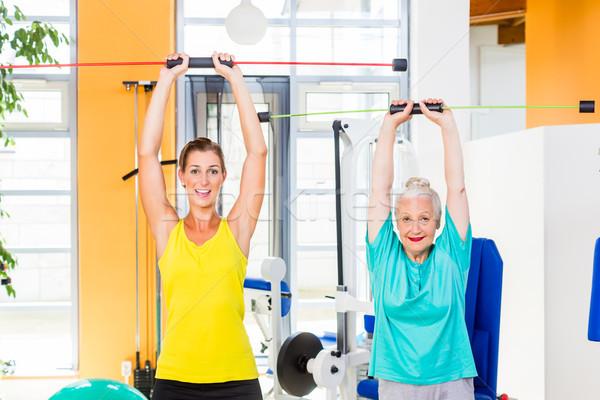 Młodych staruszka siłowni szkolenia siła pręt Zdjęcia stock © Kzenon
