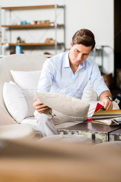 Człowiek kolory materiału meble sklepu Zdjęcia stock © Kzenon