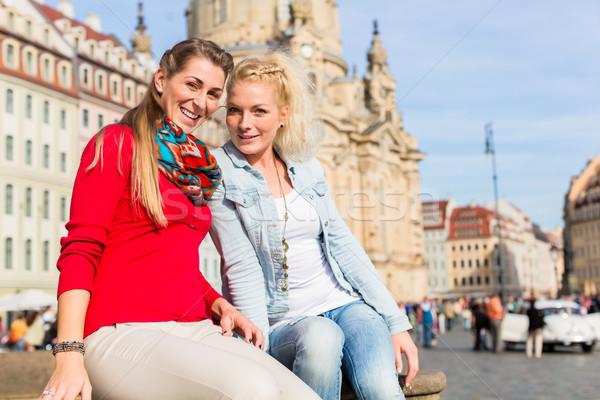 Friends at Dresden Frauenkirche Stock photo © Kzenon