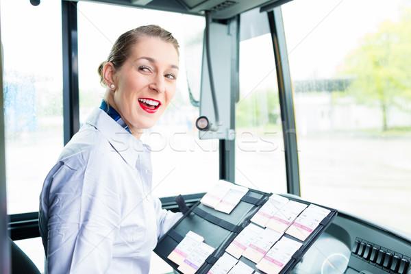 Bus pilote femme billets siège Photo stock © Kzenon