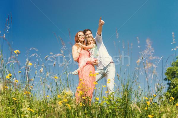 Boldog család áll legelő nyár kék ég nő Stock fotó © Kzenon