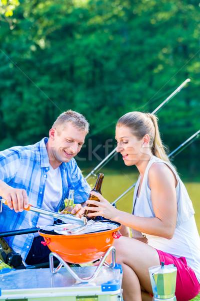 человека женщину барбекю Допрос рыбы спорт Сток-фото © Kzenon