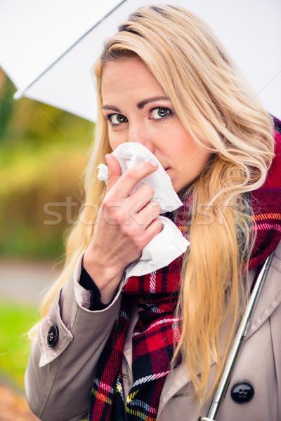 Foto stock: Mulher · frio · gripe · ruim · outono · tempo