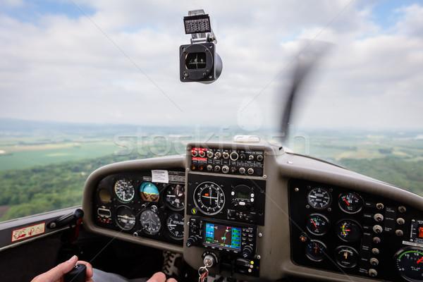 Pilot flying a private sport airplane Stock photo © Kzenon