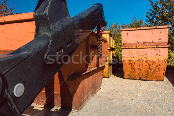 Close-up of container being loaded on truck Stock photo © Kzenon