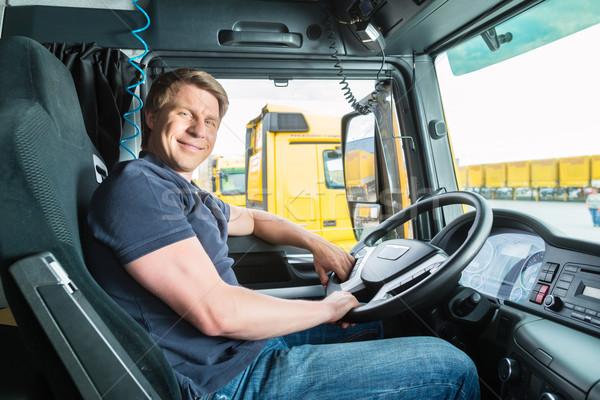 ストックフォト: トラック · ドライバ · キャップ · 物流 · 誇りに思う · 業界
