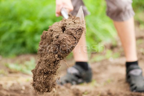 Férfi kertész láb föld tavasz ásó Stock fotó © Kzenon