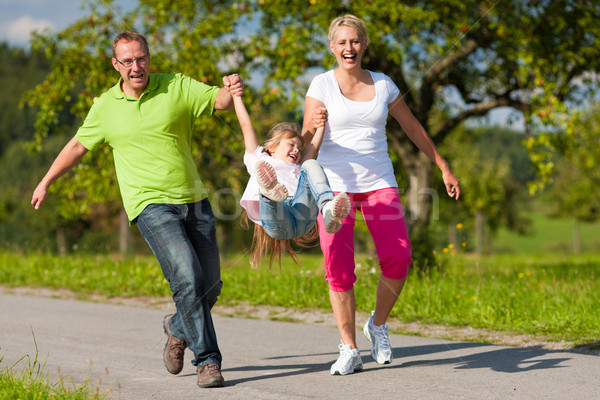 Stock photo: Family with children having walk