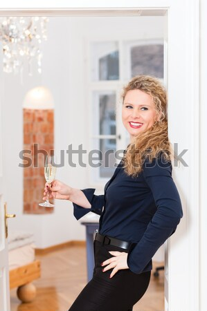 After Hour - woman at home with sparkling wine Stock photo © Kzenon