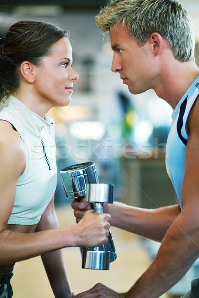 конкуренция пару спортзал другой весов Сток-фото © Kzenon