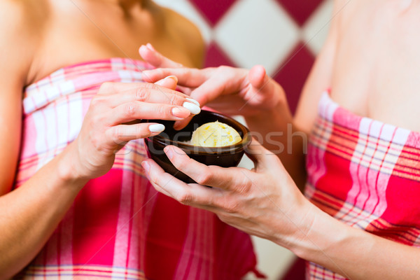 Stock photo: Women in Hammam vapour bath with wellness peeling