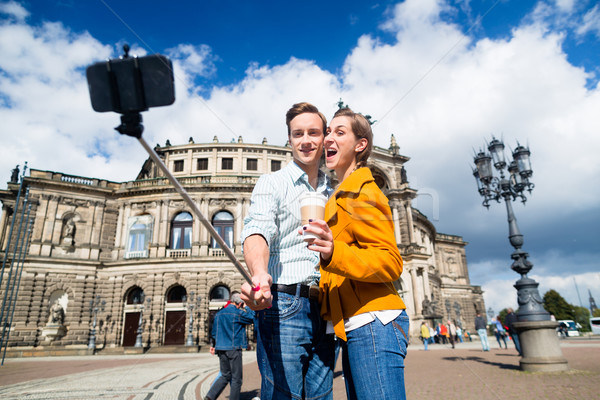 Stock photo: Couple taking selfie at Semperoper in Dresden