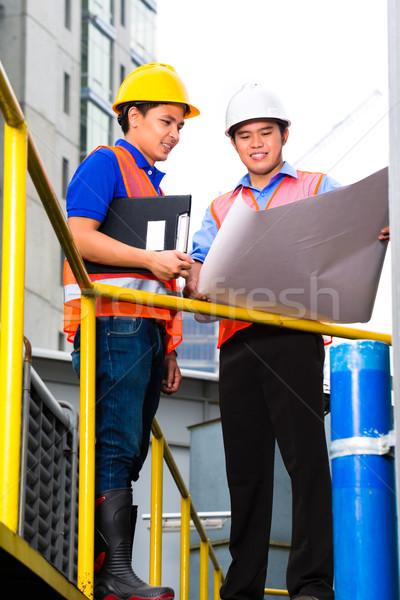 архитектора руководитель строительная площадка китайский точки здании Сток-фото © Kzenon