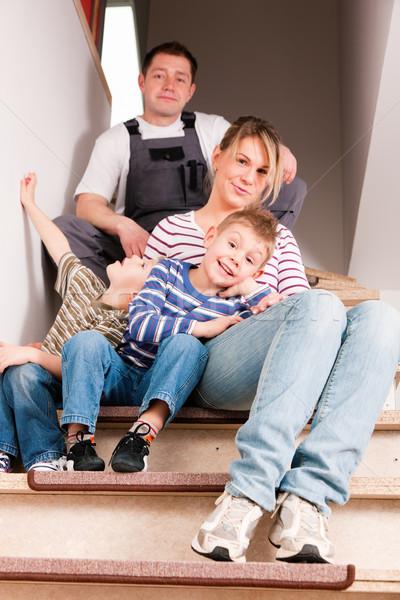 Család mozog új otthon új ház ül új Stock fotó © Kzenon