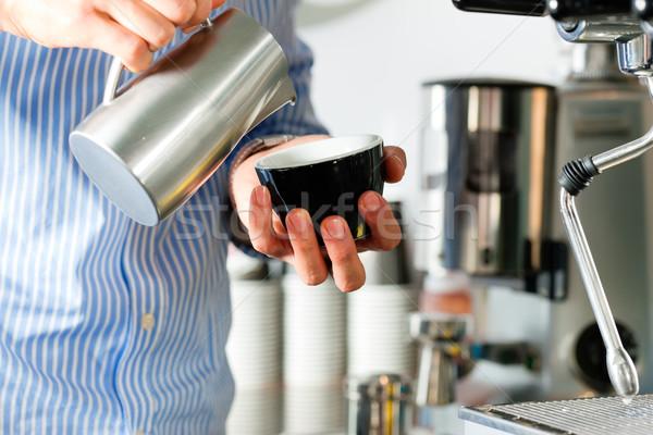 Barista prepares cappuccino Stock photo © Kzenon