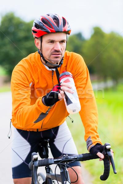 Foto d'archivio: Ciclista · gara · bike · brano · esterna · erba