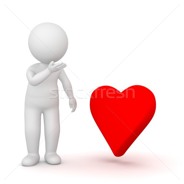 3D Rendering of a shy man looking at a heart shape Stock photo © Kzenon