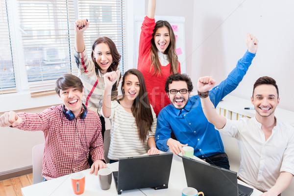 Startup business vieren succes target samen Stockfoto © Kzenon