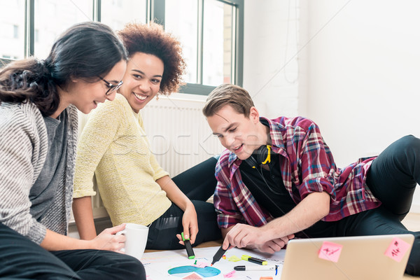 Three young creative employees working together on a project  Stock photo © Kzenon