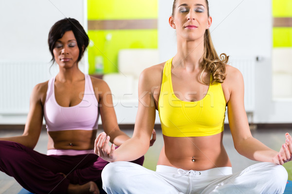 women in the gym doing yoga exercise for fitness Stock photo © Kzenon