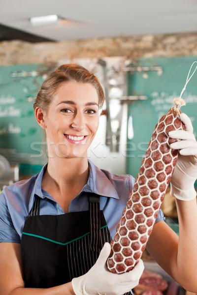 рабочих магазин помощник колбаса продовольствие работу Сток-фото © Kzenon