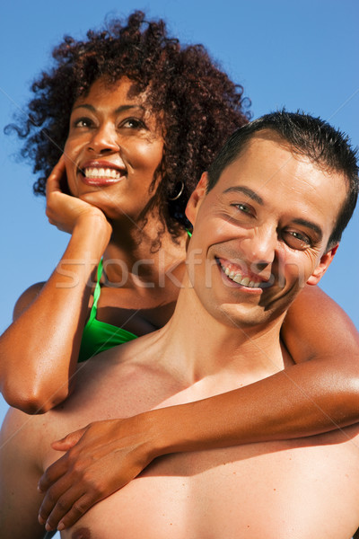 Couple - hugging each other on beach Stock photo © Kzenon