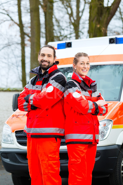 Emergency doctor in front of ambulance  car Stock photo © Kzenon