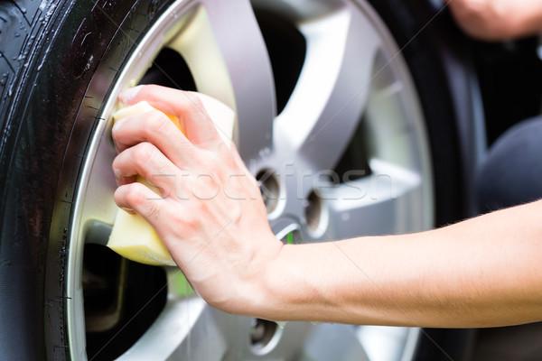 男 洗浄 ホイール リム 洗車 家 ストックフォト © Kzenon