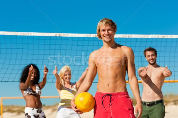 Znajomych gry plaży siatkówka grupy kobiet Zdjęcia stock © Kzenon