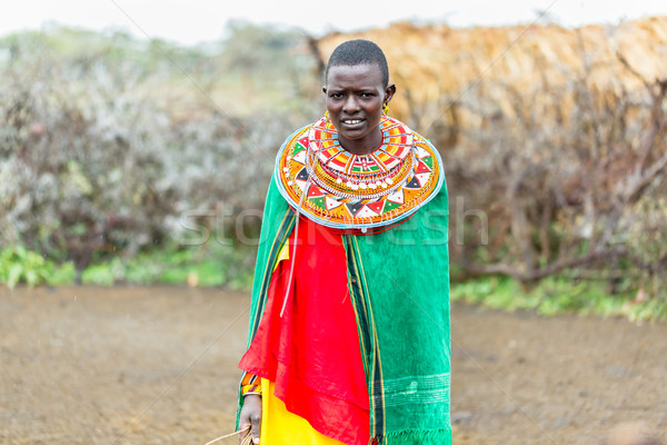 Massai woman standing in her village Stock photo © Kzenon