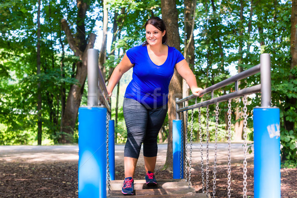 Overweight woman in climbing park doing sport Stock photo © Kzenon