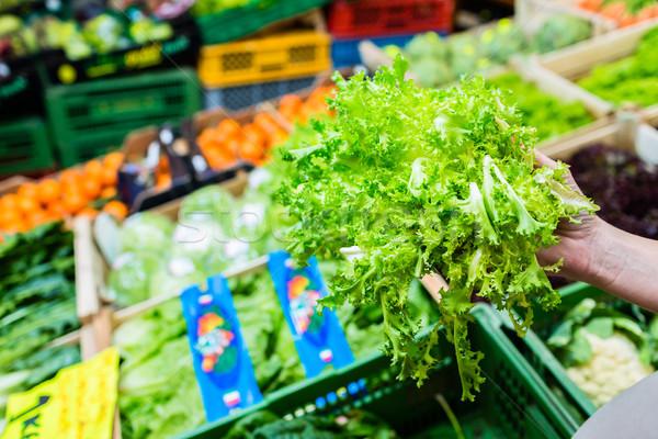 Klant kopen salade groenten markt kraam Stockfoto © Kzenon