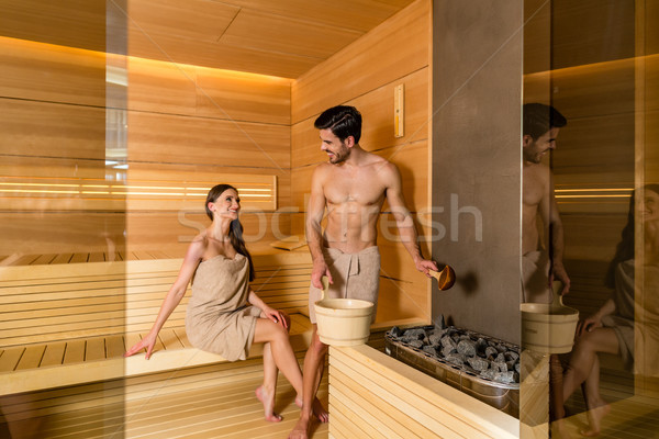 Amor sorridente relaxante juntos secar Foto stock © Kzenon