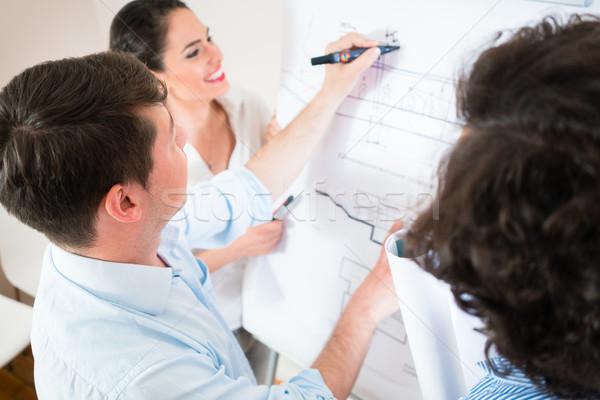 Falar construção planos flipchart civil engenheiros Foto stock © Kzenon