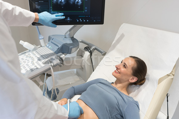 Woman and doctor looking at ultrasonic screen during examination Stock photo © Kzenon