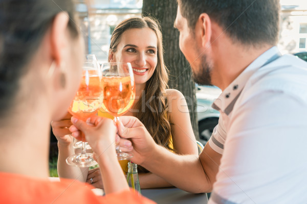 Beautiful woman and her best friends toasting with a refreshing drink Stock photo © Kzenon