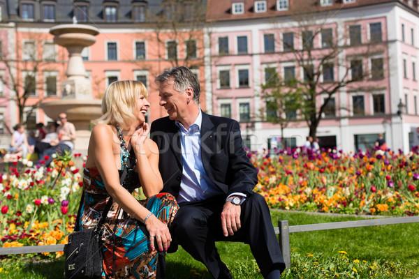Senior couple during spring in the city Stock photo © Kzenon