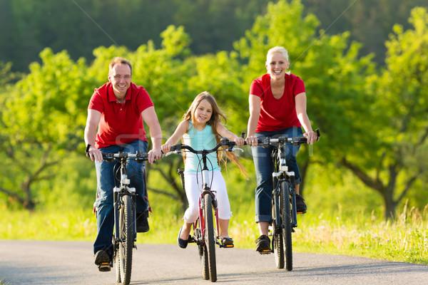 Család gyerek biciklizik nyár biciklik egy lány Stock fotó © Kzenon