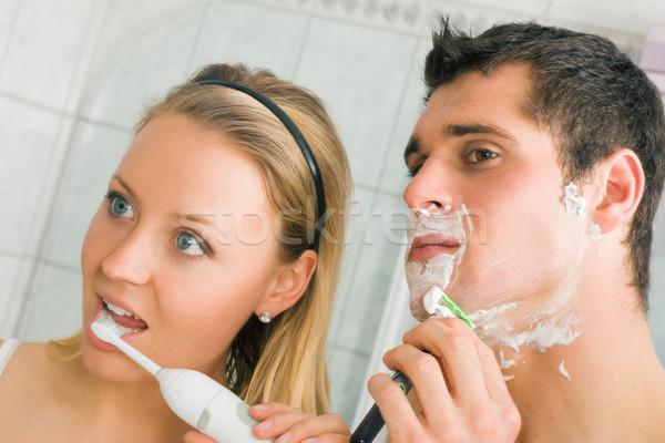 Shaving and Brushing teeth Stock photo © Kzenon