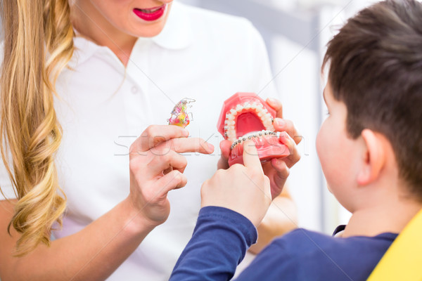 Female Orthodontist explaining boy braces  Stock photo © Kzenon