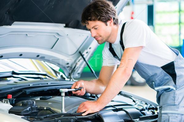 Mechanic with diagnostic tool in car workshop Stock photo © Kzenon