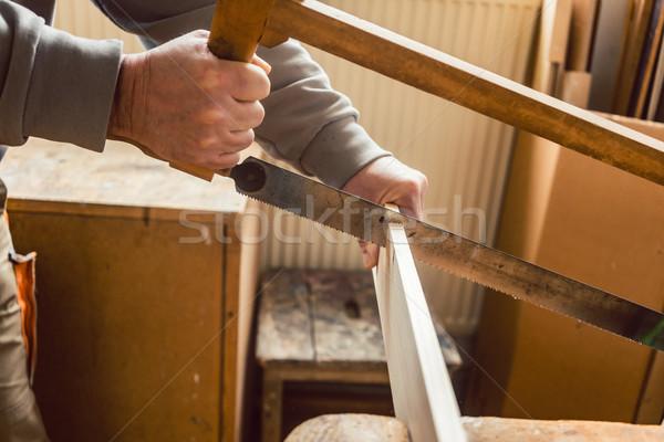 Falegname lavoro legno frame visto primo piano Foto d'archivio © Kzenon